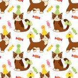 Modelo inconsútil del vector con los gatos y los dulces lindos Modelo inconsútil para el cumpleaños y el partido libre illustration