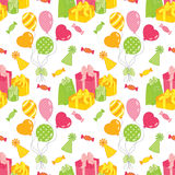 Modelo inconsútil del vector con los globos, los dulces y las cajas de regalo Modelo inconsútil para el cumpleaños y el partido ilustración del vector