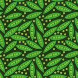Modelo inconsútil del vector con los guisantes verdes y las vainas en fondo oscuro libre illustration