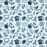 Modelo inconsútil del vector con los iconos de la educación Imágenes de archivo libres de regalías