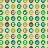 Modelo inconsútil del vector con los iconos de las finanzas Fotografía de archivo libre de regalías