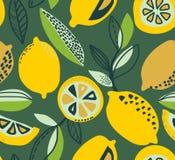 Modelo inconsútil del vector con los limones amarillos, ramas, texturas del absdtact stock de ilustración