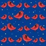 Modelo inconsútil del vector con los pájaros del rojo de la historieta Foto de archivo