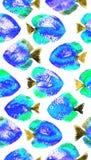 Modelo inconsútil del vector con los pescados del disco de la acuarela Imagen de archivo libre de regalías