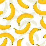 Modelo inconsútil del vector con los plátanos amarillos Vector de la fruta del plátano que repite el modelo Impresión sabrosa par Foto de archivo libre de regalías