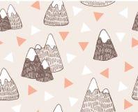 Modelo inconsútil del vector con paisaje de las montañas Fotos de archivo libres de regalías