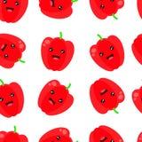 Modelo inconsútil del vector con paprika roja Ejemplo rojo inconsútil del vector del fondo de la paprika libre illustration