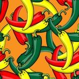 Modelo inconsútil del vector con pimientas de chile maduras frescas Fotografía de archivo libre de regalías