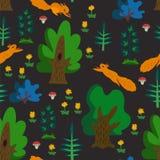 Modelo inconsútil del vector con textura del color del bosque del verano con las ardillas, los árboles, las flores lindas y las h fotografía de archivo libre de regalías