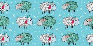 Modelo inconsútil del vector con una oveja Ilustración de una oveja de la historieta Impresiones para las materias textiles Imagenes de archivo