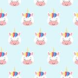 Modelo inconsútil del vector con unicornios del arco iris Fondo para una tarjeta de la invitación o una enhorabuena Kawaii ilustración del vector