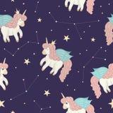 Modelo inconsútil del vector con unicornios lindos del estilo de la acuarela en el cielo nocturno fotos de archivo libres de regalías