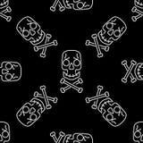 Modelo inconsútil del vector del cráneo en el negro, fondo blanco de los cráneos del caramelo de Halloween, Imagen de archivo libre de regalías