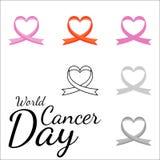 Modelo inconsútil del vector de cintas en la forma del corazón Símbolo del cáncer que lucha Día de la tarjeta del día de San Vale ilustración del vector