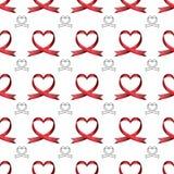 Modelo inconsútil del vector de cintas en la forma del corazón Símbolo del cáncer que lucha Día de la tarjeta del día de San Vale libre illustration