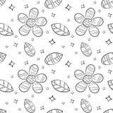 Modelo inconsútil del vector de flores y de la hoja planas en la mano escandinava del estilo dibujada en un fondo blanco Utilizad stock de ilustración