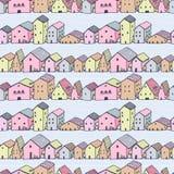 Modelo inconsútil del vector de la casa ingenua linda con las rayas Dibujo del estilo de los niños Modelo de la ciudad libre illustration