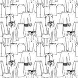 Modelo inconsútil del vector de la colección dibujada mano de la moda con diversas faldas brillantes Fotos de archivo