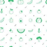 Modelo inconsútil del vector de la fruta y verdura con los elementos abstractos en un fondo blanco Diseño sano de la comida ilustración del vector