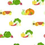 Modelo inconsútil del vector de la fruta y verdura en estilo plano en el fondo blanco Diseño sano de la comida ilustración del vector