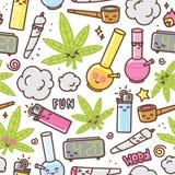 Modelo inconsútil del vector de la historieta del kawaii de la marijuana ilustración del vector
