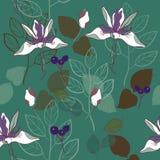 modelo inconsútil del vector del modelo de la impresión botánica en trullo y lavanda libre illustration