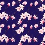 Modelo inconsútil del vector de la marina de guerra de la magnolia de la primavera Foto de archivo libre de regalías