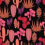 Modelo inconsútil del vector de la planta de los Succulents Impresión color de rosa negra y rosada botánica de la tela de la flor libre illustration