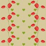 Modelo inconsútil del vector de la tarjeta del día de San Valentín con los tulipanes Fotos de archivo