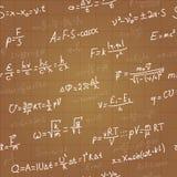 Modelo inconsútil del vector de las fórmulas de la física en marrón Fotos de archivo