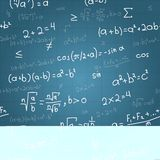 Modelo inconsútil del vector de las fórmulas matemáticas encendido Fotos de archivo libres de regalías