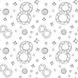 Modelo inconsútil del vector de las flores planas del lirio de los valles, de las hojas y de un cuadro ocho en la mano escandinav ilustración del vector