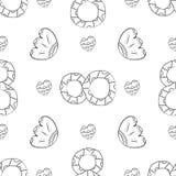 Modelo inconsútil del vector de las flores planas del lirio de los valles, de las hojas y de un cuadro ocho en la mano escandinav stock de ilustración