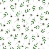 Modelo inconsútil del vector de las flores y de las hierbas del jardín Fondo exhausto de la repetición del estilo de la histor libre illustration