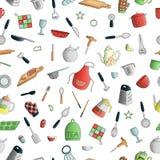 Modelo inconsútil del vector de las herramientas coloreadas de la cocina Repita el fondo con los cubiertos coloridos aislados, e ilustración del vector