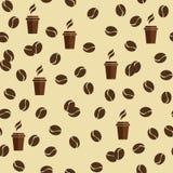 Modelo inconsútil del vector de las tazas del té o de café con los granos de café o los granos ilustración del vector