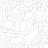 Modelo inconsútil del vector de las verduras planas del estilo de Lineart en el fondo blanco Fotografía de archivo