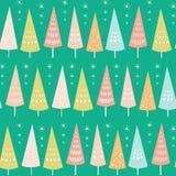 Modelo inconsútil del vector de los árboles y de las estrellas en colores pastel de Chrismas Ideal superficial del fondo del dise libre illustration