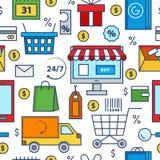 Modelo inconsútil del vector de los iconos de las compras Colección de la compra y de la entrega Muestra en línea o off-line de l Stock de ilustración