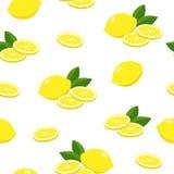 Modelo inconsútil del vector de los limones Frutas, hojas y rebanadas del limón aisladas en el fondo blanco, diseño de la textura stock de ilustración