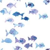 Modelo inconsútil del vector de los pescados de la acuarela Imagen de archivo