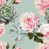 Modelo inconsútil del vector de los Succulents y de las rosas ilustración del vector