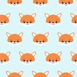 Modelo inconsútil del vector de los zorros lindos Cabeza anaranjada del zorro s en fondo azul libre illustration
