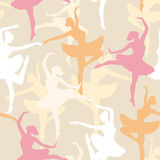 Modelo inconsútil del vector de siluetas de las bailarinas del baile Foto de archivo