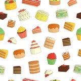 Modelo inconsútil del vector de tortas coloreadas stock de ilustración