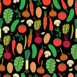 Modelo inconsútil del vector de verduras dibujadas mano Fotografía de archivo libre de regalías