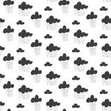 Modelo inconsútil del vector del bebé Impresión lluviosa del cielo de la diversión negra para la materia textil stock de ilustración