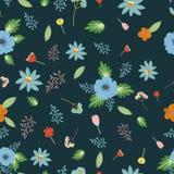 Modelo inconsútil del vector, del color con las flores y hojas Imagenes de archivo