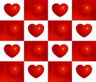 Modelo inconsútil del vector del corazón rojo de la tarjeta del día de San Valentín Imágenes de archivo libres de regalías