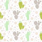 Modelo inconsútil del vector del desierto del cactus Textura verde y gris de la impresión de la tela de la naturaleza